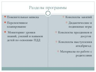 Разделы программы Пояснительная записка Перспективное планирование Мониторинг
