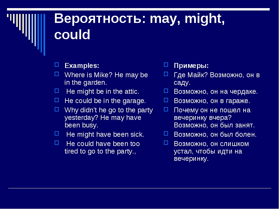 Вероятность: may, might, could Examples: Where is Mike? He may be in the gard...