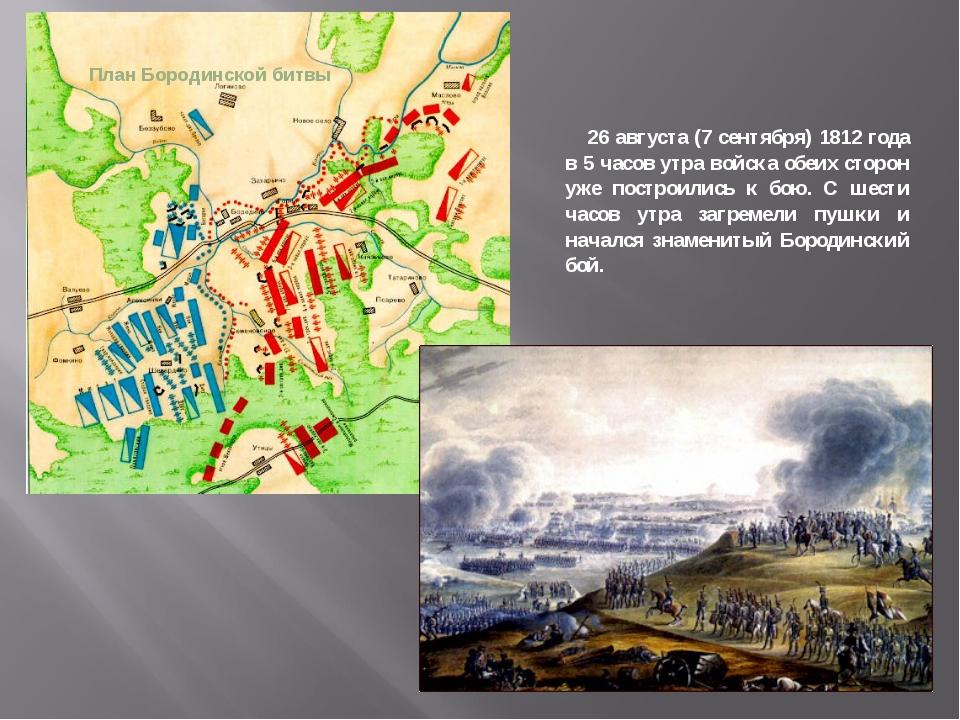 План Бородинской битвы 26 августа (7 сентября) 1812 года в 5 часов утра войск...