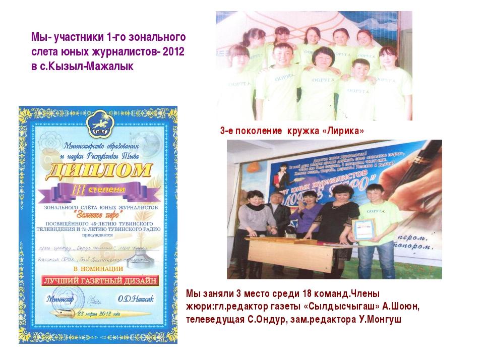 Мы- участники 1-го зонального слета юных журналистов- 2012 в с.Кызыл-Мажалык...