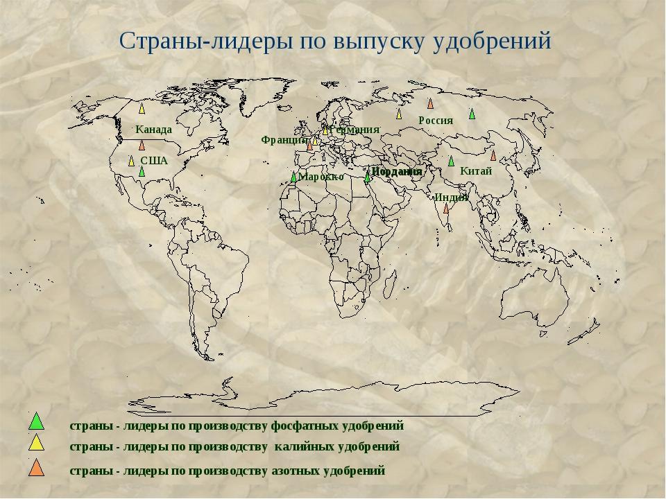 Страны-лидеры по выпуску удобрений