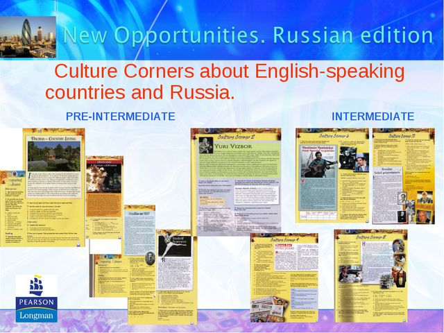Culture Corners about English-speaking countries and Russia. PRE-INTERMEDIAT...