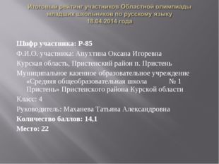 Шифр участника: Р-85 Ф.И.О. участника: Апухтина Оксана Игоревна Курская облас