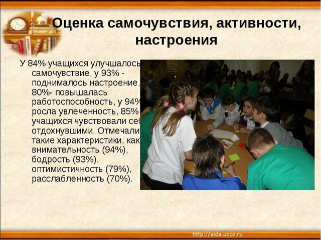 Оценка самочувствия, активности, настроения У 84% учащихся улучшалось самочув...