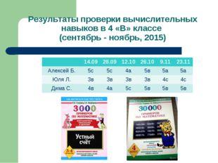 Результаты проверки вычислительных навыков в 4 «В» классе (сентябрь - ноябрь,