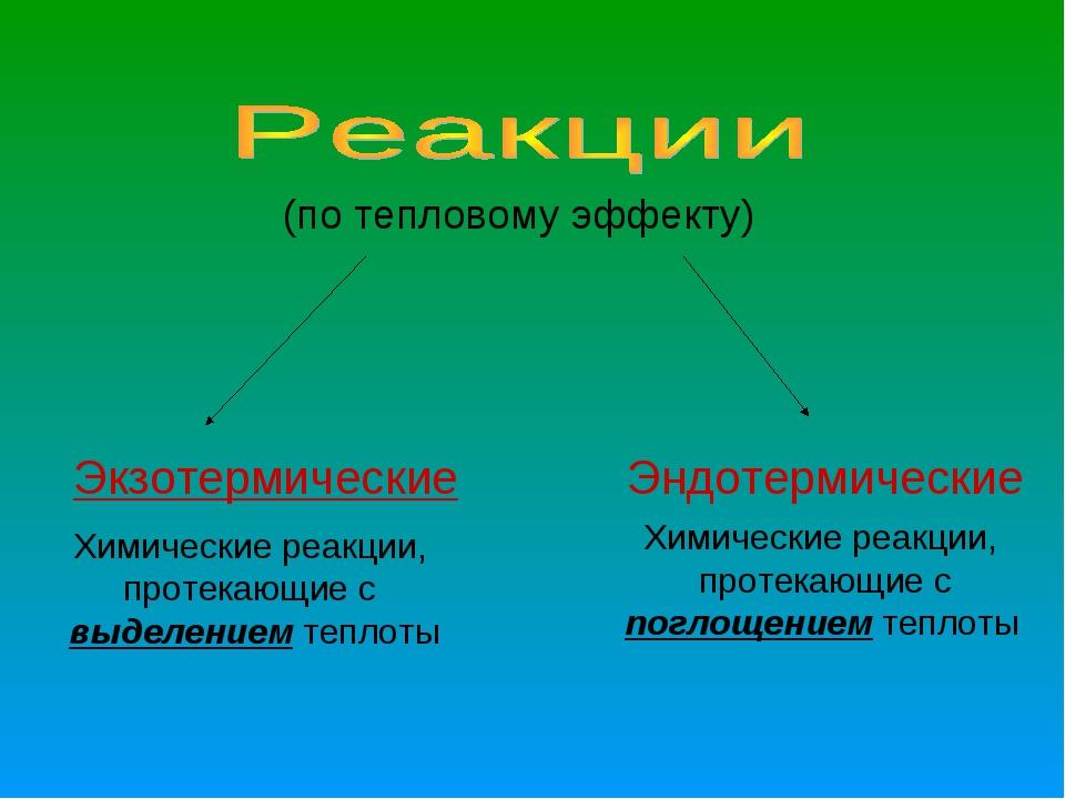 (по тепловому эффекту) Экзотермические Эндотермические Химические реакции, пр...
