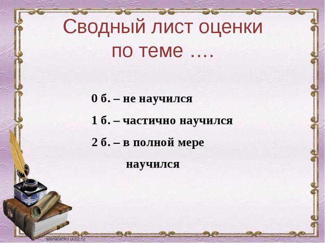 Сводный лист оценки по теме …. 0 б. – не научился 1 б. – частично научился 2...