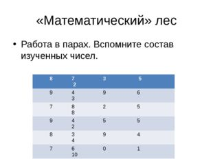 «Математический» лес Работа в парах. Вспомните состав изученных чисел. 8 7 3