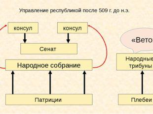 Управление республикой после 509 г. до н.э. Патриции Народное собрание Сенат