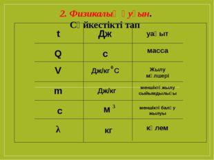 Q t V m c λ Дж Жылу мөлшері с уақыт Дж/кг С 0 меншікті жылу сыйымдылығы масс