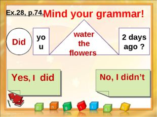 Ex.28, p.74. Yes, I did No, I didn't Mind your grammar! Did you water the flo