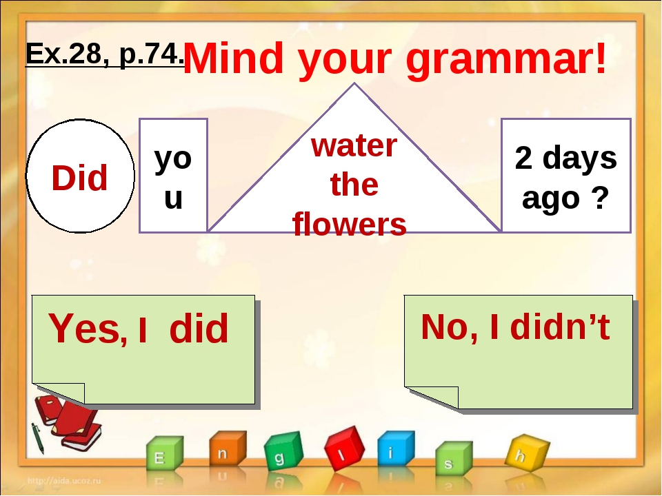 Ex.28, p.74. Yes, I did No, I didn't Mind your grammar! Did you water the flo...