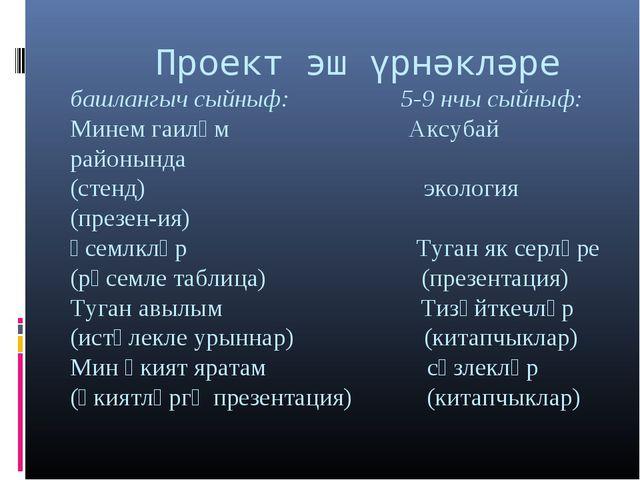 Проект эш үрнәкләре башлангыч сыйныф: 5-9 нчы сыйныф: Минем гаиләм Аксубай р...