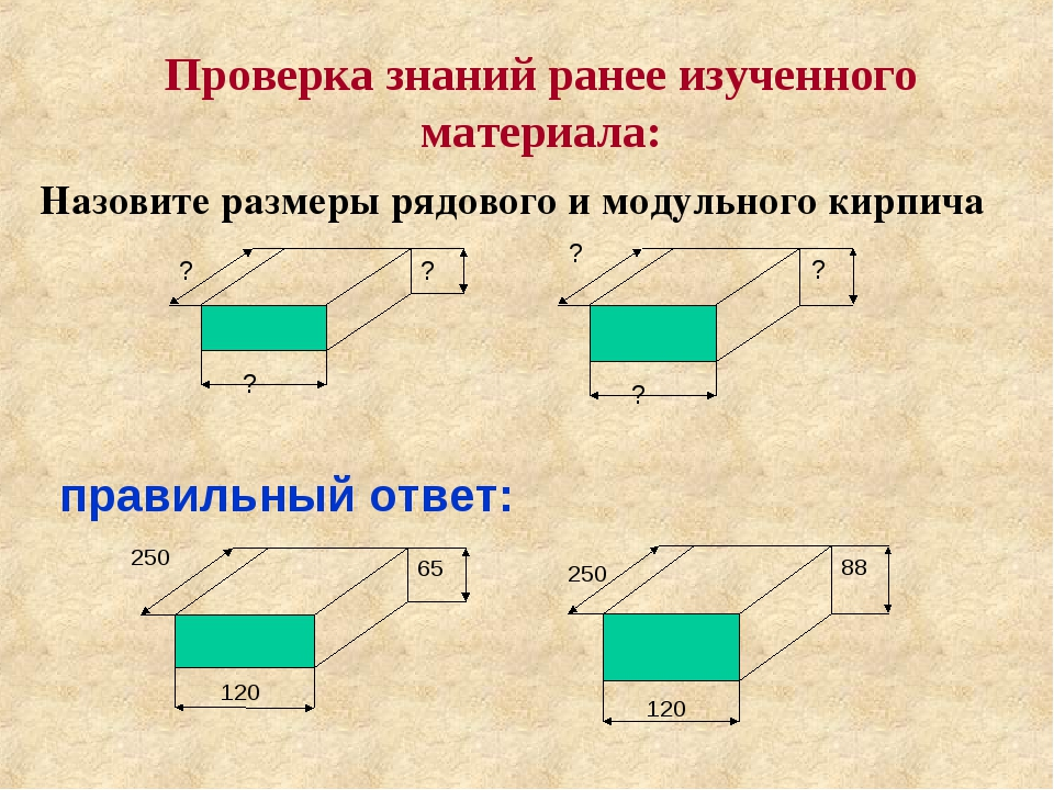 Проверка знаний ранее изученного материала: Назовите размеры рядового и модул...