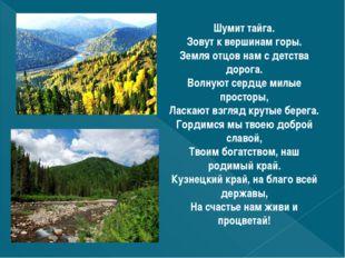 Шумит тайга. Зовут к вершинам горы. Земля отцов нам с детства дорога. Волнуют
