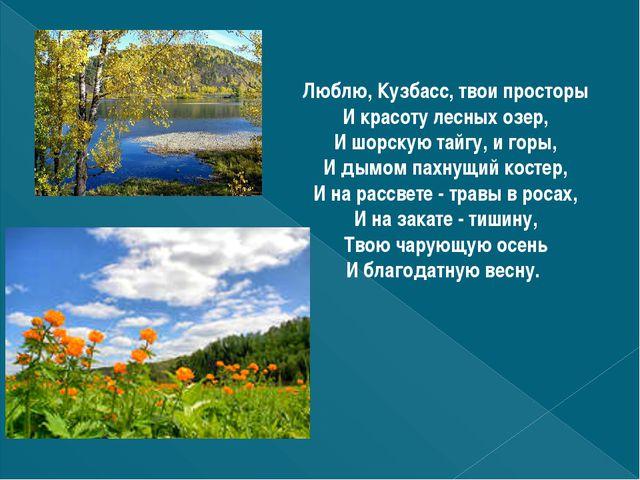 Люблю, Кузбасс, твои просторы И красоту лесных озер, И шорскую тайгу, и горы,...