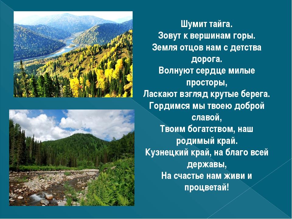 Шумит тайга. Зовут к вершинам горы. Земля отцов нам с детства дорога. Волнуют...