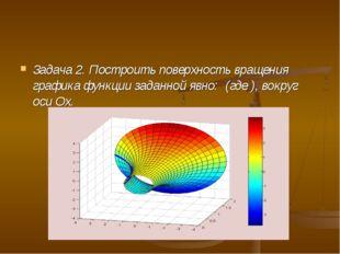Задача 2. Построить поверхность вращения графика функции заданной явно: (где