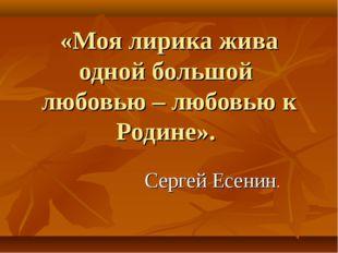 «Моя лирика жива одной большой любовью – любовью к Родине». Сергей Есенин.
