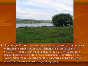 Родина для Есенина — это село Константинове, где он родился, ближайшие окрес