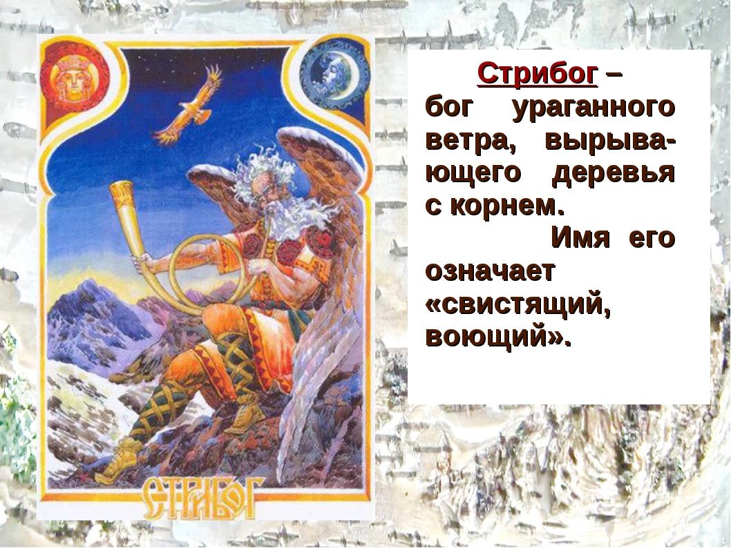 Стрибог – бог ураганного ветра, вырыва-ющего деревья с корнем. Имя его означ...