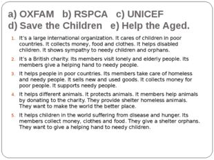 a) OXFAM b) RSPCA c) UNICEF d) Save the Children e) Help the Aged. It's a lar