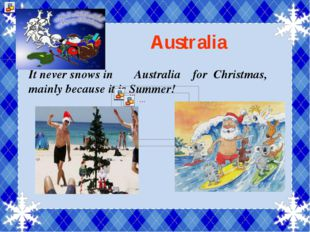 Australia It never snows in Australia for Christmas, mainly because it is Su