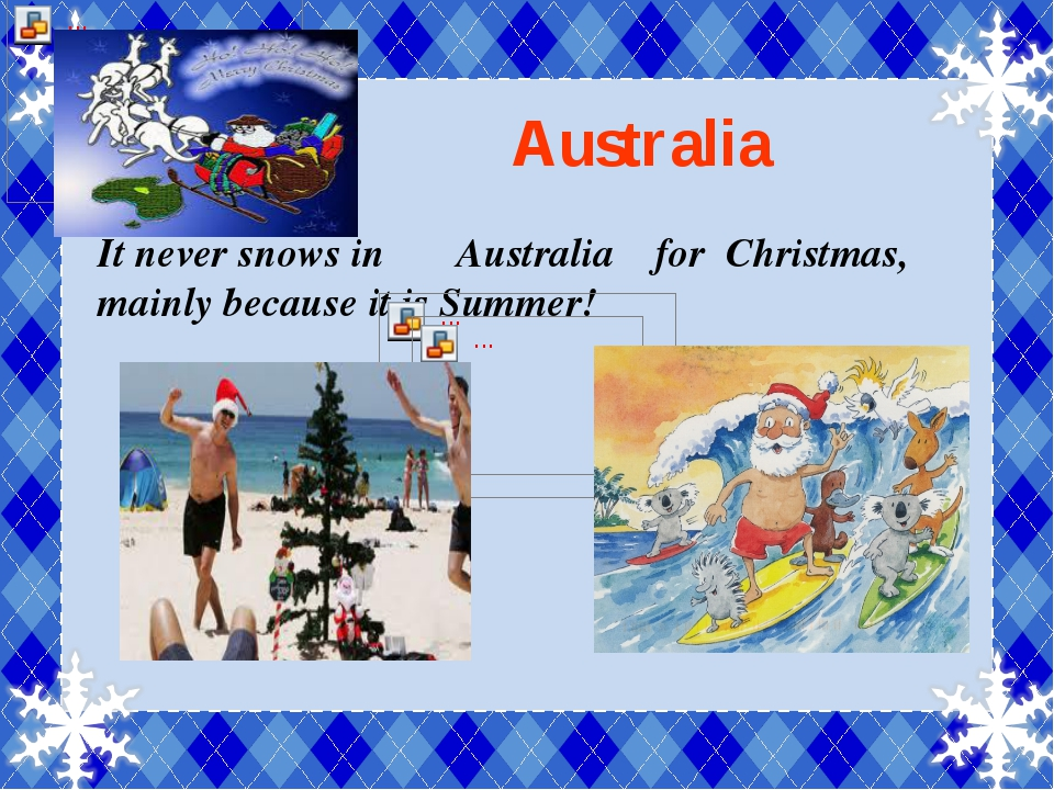 Australia It never snows in Australia for Christmas, mainly because it is Su...