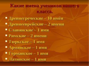 Какие имена учеников нашего класса. Древнегреческие – 10 имён Древнееврейские