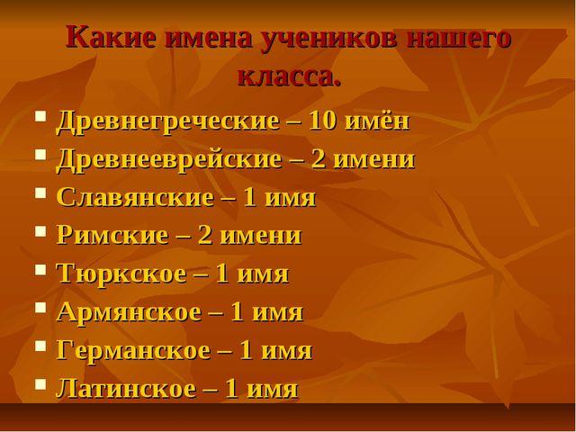 Какие имена учеников нашего класса. Древнегреческие – 10 имён Древнееврейские...