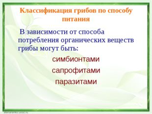 Классификация грибов по способу питания В зависимости от способа потребления