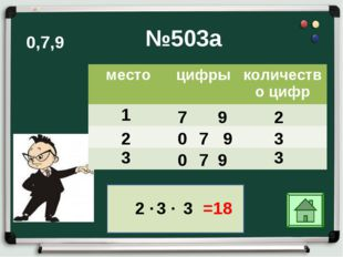 №503а 1 7 9 2 2 ∙ 2 0 7 9 3 3 0 7 3 3 ∙ 3 =18 0,7,9 9 местоцифрыколичество
