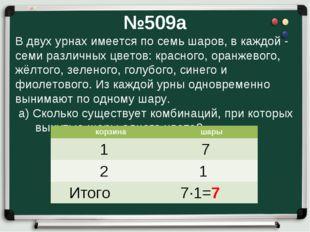 №509а В двух урнах имеется по семь шаров, в каждой - семи различных цветов: к