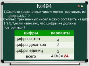 №494 1)Сколько трехзначных чисел можно составить из цифр1,3,5,7 ? 2) Сколько