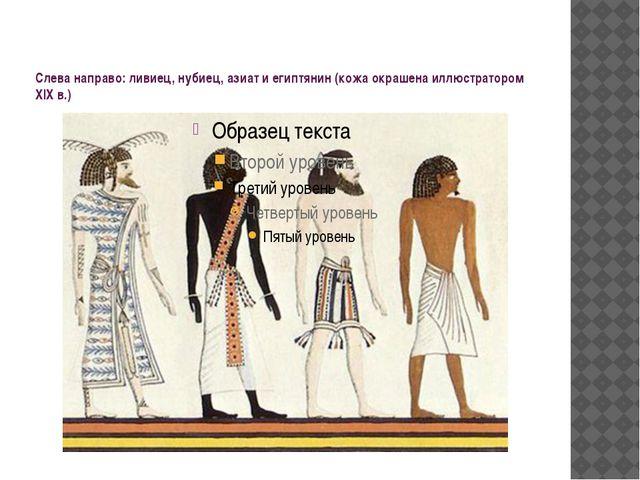 Слева направо: ливиец, нубиец, азиат и египтянин (кожа окрашена иллюстратором...