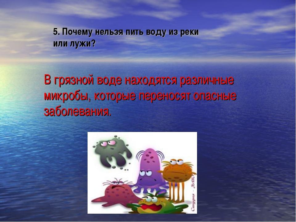 5. Почему нельзя пить воду из реки или лужи? В грязной воде находятся различн...