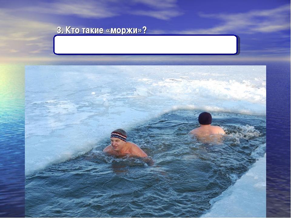 3. Кто такие «моржи»? (Люди, купающиеся зимой в проруби).