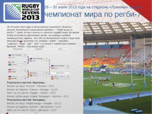 28 – 30 июня 2013 года на стадионе «Лужники» прошел чемпионат мира по регби-7