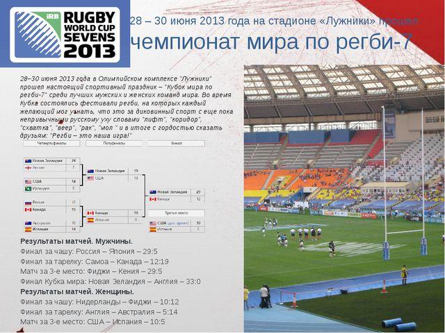 28 – 30 июня 2013 года на стадионе «Лужники» прошел чемпионат мира по регби-7...