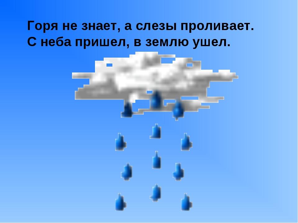 Горя не знает, а слезы проливает. С неба пришел, в землю ушел.
