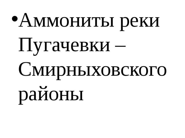Аммониты реки Пугачевки – Смирныховского районы