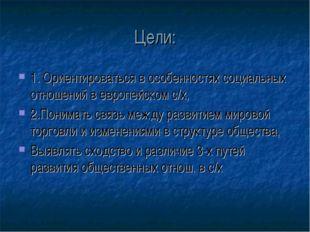 Цели: 1. Ориентироваться в особенностях социальных отношений в европейском с/