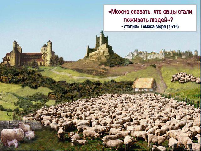 «Можно сказать, что овцы стали пожирать людей»? «Утопия» Томаса Мора (1516)