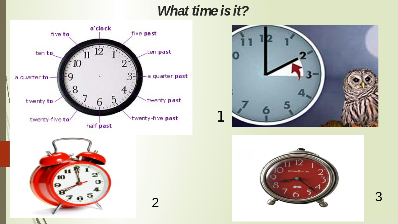 What time is it? 1 2 3