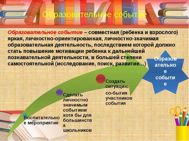 Образовательное событие – совместная (ребенка и взрослого) яркая, личностно-о...