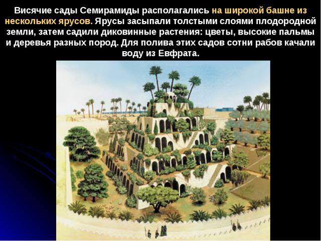Висячие сады Семирамиды располагались на широкой башне из нескольких ярусов....