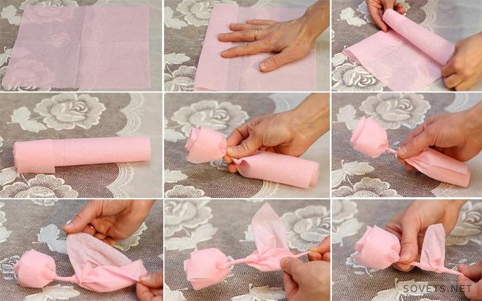 Как сделать розочку из салфеток