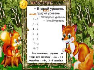 ТЕСТ Ключ: 1 – а 2 – б 3 – в 4 – в 5 – а 6 – б 7 – а 8 - б Выставление оцено