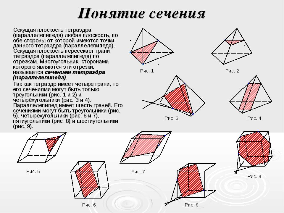 Понятие сечения Секущая плоскость тетраэдра (параллелепипеда) любая плоскость...