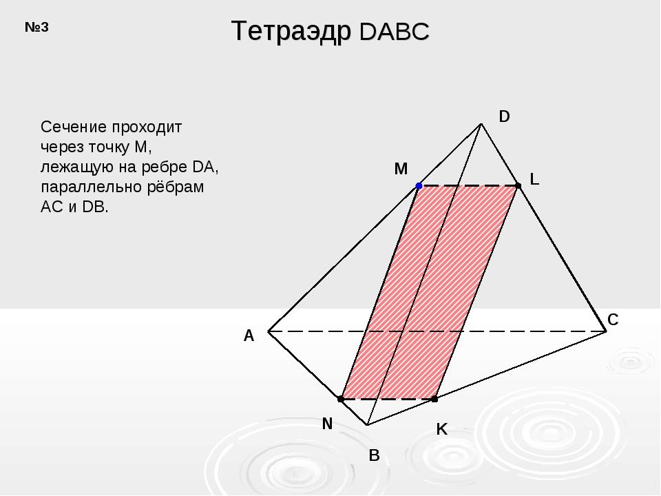 A B C D N K M L Сечение проходит через точку M, лежащую на ребре DA, параллел...